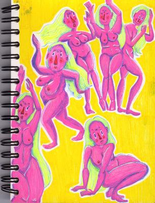Curvy girl, squad, sketch, illustration