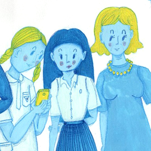 blue, people, waiting, gouache, pencil