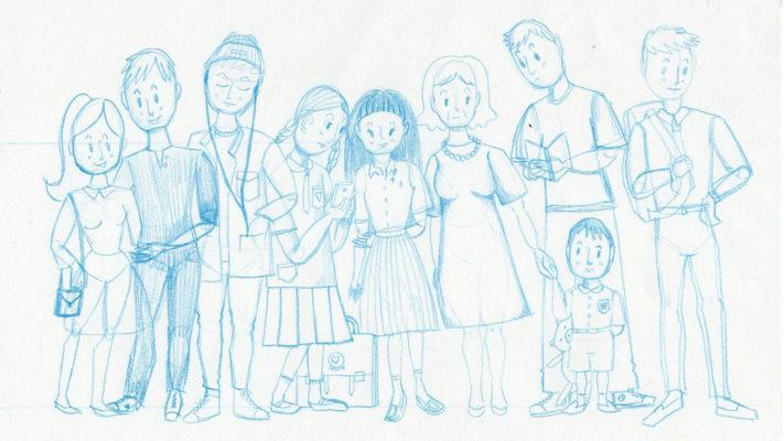 blue, people, waiting, gouache, pencil, sketch